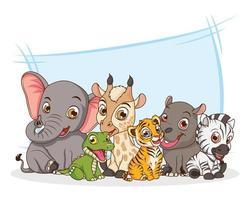 personagens de desenhos animados de seis animais bebês vetor