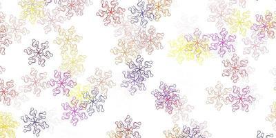 luz multicolor vetor doodle padrão com flores.
