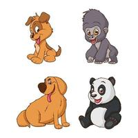 grupo de quatro animais personagens de desenhos animados vetor
