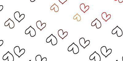 modelo de vetor laranja claro com doodle corações.