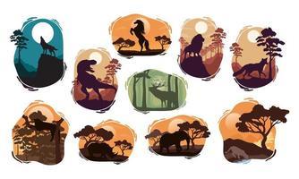 cenas de silhuetas de dez animais selvagens vetor