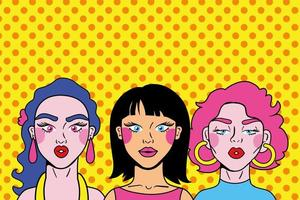 estilo pop art de amigas jovens vetor