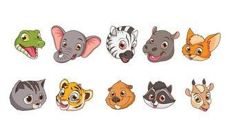 personagens de desenho animado de dez animais bebês fofos