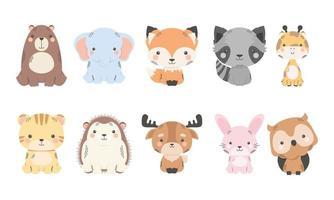 personagens de quadrinhos de dez animais fofos vetor