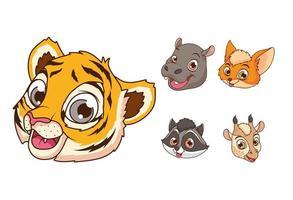 personagens de desenhos animados de cinco animais bebês fofos vetor