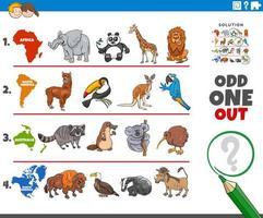 jogo de imagem ímpar com espécies animais vetor