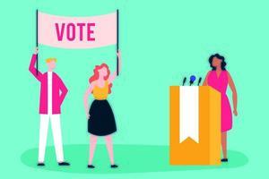 dia da eleição com eleitores e candidato fazendo um discurso