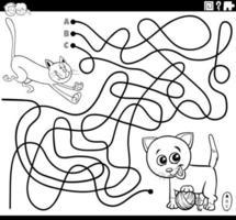 página do livro para colorir labirinto com gatos brincalhões vetor
