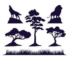 conjunto de ícones de silhueta de fauna e flora selvagem vetor