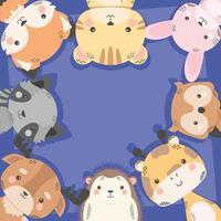 personagens de quadrinhos fofos de oito animais vetor