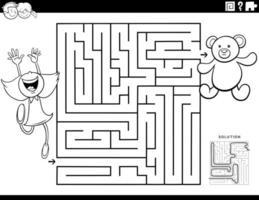 jogo de labirinto com página de livro para colorir de menina e ursinho vetor