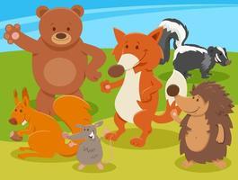 grupo de personagens de animais selvagens de desenho animado feliz vetor