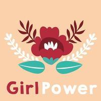pôster de poder feminino com letras e flores