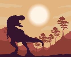 cena da silhueta da fauna do tiranossauro rex selvagem vetor
