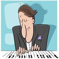 pianista tocando piano ilustração dos desenhos animados