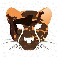 cabeça de animal leopardo selvagem, cenário de fauna vetor
