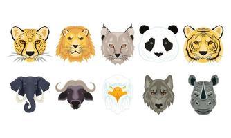 conjunto de cabeça de personagens de animais selvagens vetor