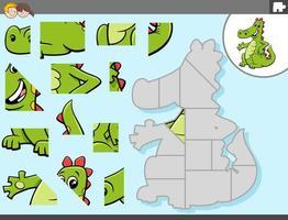 jogo de quebra-cabeça com personagem de fantasia de dragão vetor