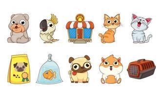 conjunto de ícones de pet shop vetor