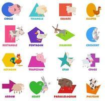 formas geométricas básicas com animais de fazenda de desenho animado definido