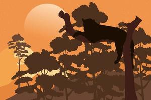 felino puma selvagem em cena de silhueta de fauna arbórea vetor
