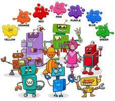 cores básicas com grupo de personagens de desenhos animados de robôs vetor