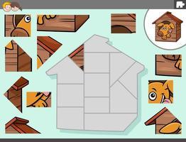 jogo de quebra-cabeça com personagem de cachorro no canil vetor