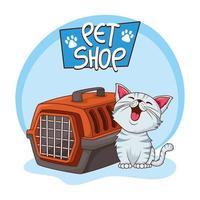gato branco fofo com canil de transporte vetor