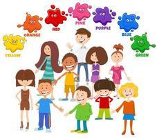 cores básicas com grupo de personagens infantis vetor