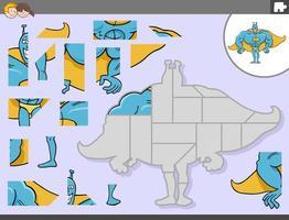 jogo de quebra-cabeça com personagem de fantasia de super-herói vetor