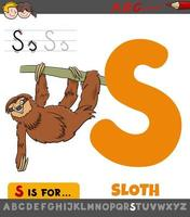 planilha da letra s com desenho animado animal-preguiça vetor