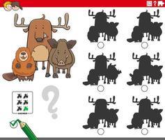 jogo educativo de sombras com personagens animais vetor