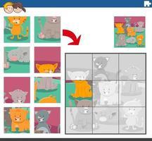 jogo de quebra-cabeça com gatos e personagens animais vetor