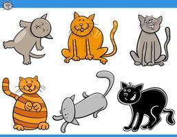 Conjunto de personagens de quadrinhos de gatos e gatinhos de desenhos animados