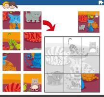 tarefa de quebra-cabeça com gatos e personagens animais vetor