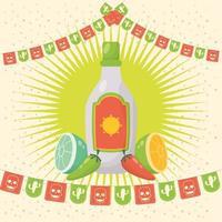 celebração viva mexico com garrafa de tequila vetor
