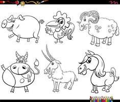 personagens de animais de fazenda em desenho animado para colorir página de livro vetor