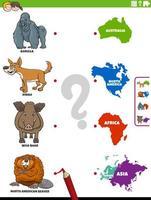 tarefa educacional de combinar espécies animais e continentes vetor