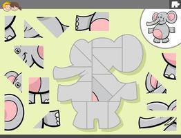jogo de quebra-cabeça com personagem animal elefante vetor
