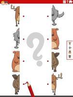 combinar metades de imagens com tarefas educacionais de animais selvagens vetor