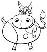 página de livro para colorir de personagem em quadrinhos de animais de fazenda de touro fofo vetor