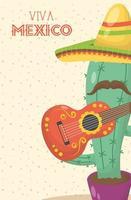 celebração viva mexico com cacto e chapéu vetor