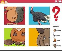 jogo educacional de adivinhação de personagens de animais para crianças vetor