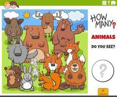 jogo educativo de quantos animais para crianças vetor