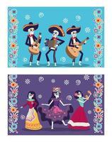 cartão dia de los muertos com skuls mariachis e catrina