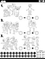 subtração tarefa educacional com página de livro de cores para crianças vetor