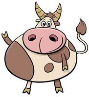 ilustração de desenho animado de animal de fazenda bonito touro vetor