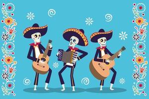cartão dia de los muertos com caveiras de mariachis tocando instrumentos