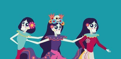 cartão dia de los muertos com caracteres catrina caveiras