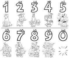 números de desenho animado definir página de livro para colorir com cães